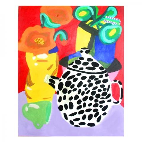 Schilderij met theepot door kunstenares Anne