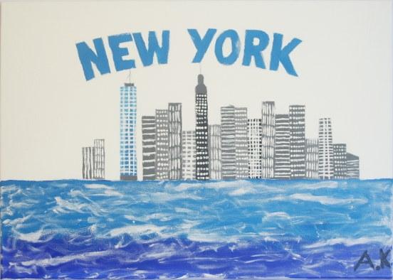 Skyline van new York geschilderd door Aemen