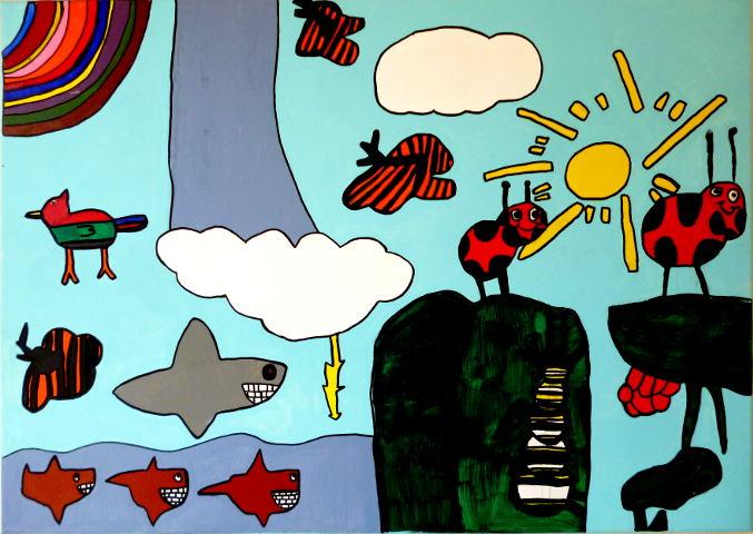 schilderij van beestjes, haaien en lieveheersbeetjes